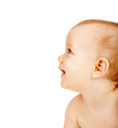 diaper baby: Adorable baby looking aside over white background Stock Photo