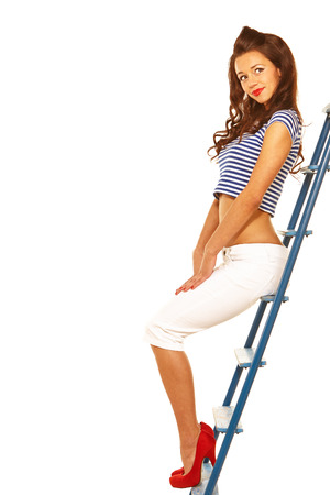 Pin-up cute girl isolated over white background photo