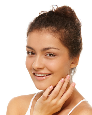 olive skin: Closeup portrait of young olive skin girl over isolated white background Stock Photo