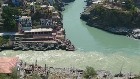 Confluence of Alaknanda and Bhagirthi rivers at Devprayag, Uttarakhand to form the mighty Ganges