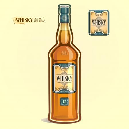 bourbon whisky:    Whisky in the bottle Illustration
