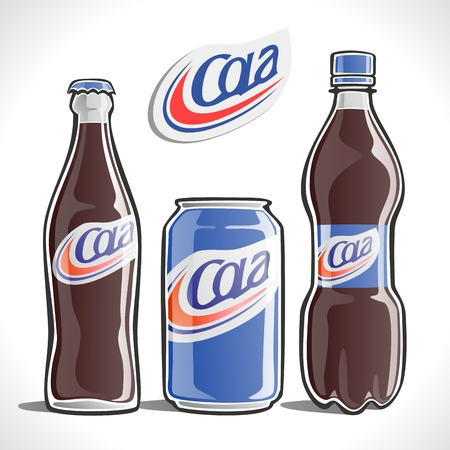 Cola in a variety of containers Vectores
