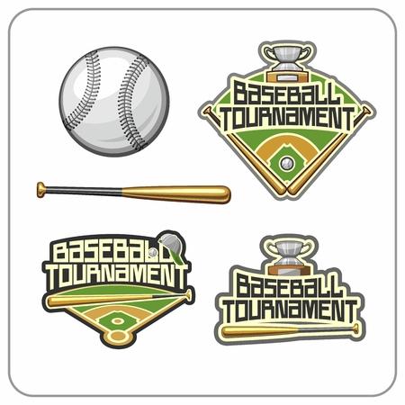 Baseball attributes and emblems Vector