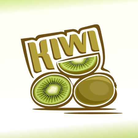 Vector illustration on the theme of kiwi Stock Illustratie