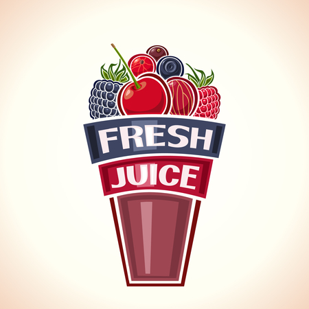berry fruit: Fresh juice from berries Illustration