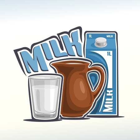 glassful: Vector illustration on the theme of milk Illustration