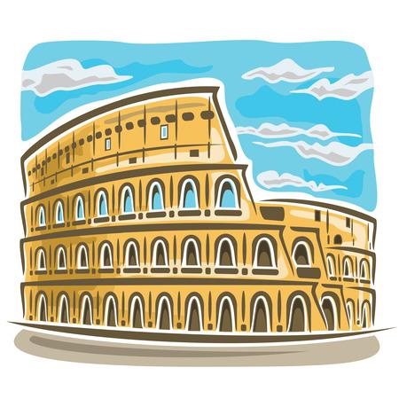ancient roman: Vector illustration on the theme of Coliseum
