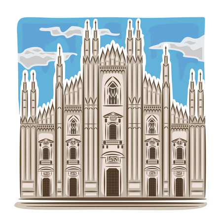 turret: Vector illustration on the theme of Milan cathedral