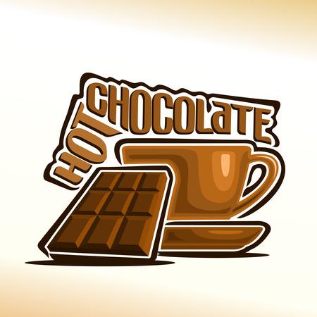 Illustrazione vettoriale sul tema della tazza con cioccolata calda e una barretta di cioccolato