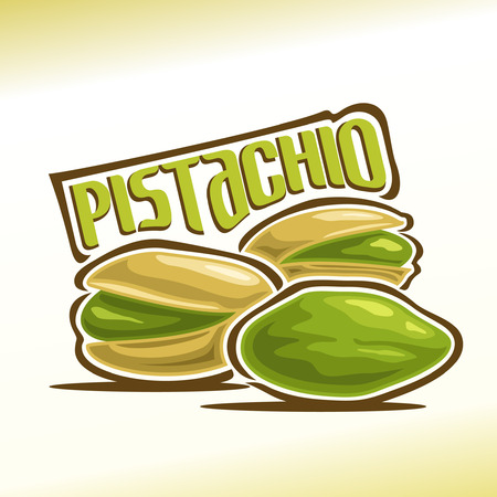 Illustration on the theme for pistachio nuts, consisting of three nutlets, one of which peeled and the other two in the shell cracked Stock Illustratie