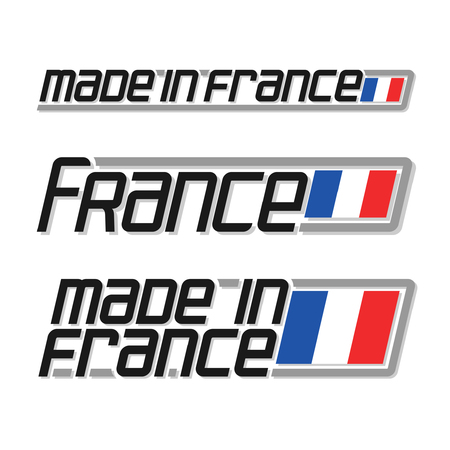 Illustration for made in France, consisting of three isolated illustrations with the french flag and text on a white background Illustration
