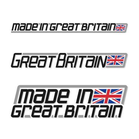 cachet: Illustration for made in Great Britain, consisting of three isolated illustrations with the british flag and text on a white background