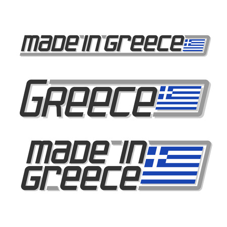 made in greece stamp: Illustration for made in Greece, consisting of three isolated illustrations with the greek flag and text on a white background