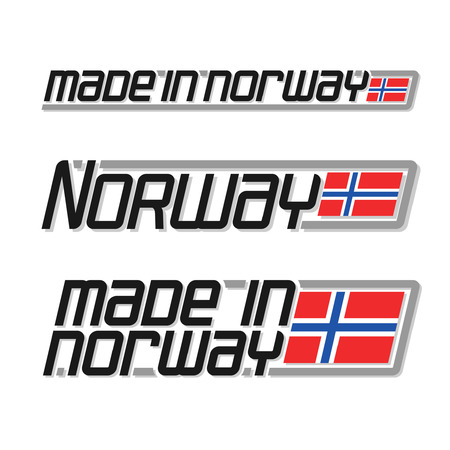 norwegian flag: Illustration for made in Norway, consisting of three isolated illustrations with the norwegian flag and text on a white background