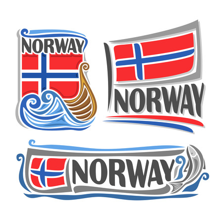 Illustration for Norway, consisting of 3 isolated illustrations: norwegian flag over the boat on the waves, horizontal symbol of Norway and the flag on background of the fish