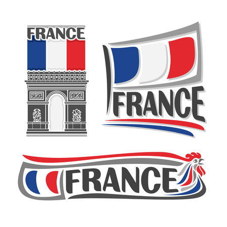 Illustration for France, consisting of 3 isolated illustrations: french flag on the Arc de Triomphe, horizontal symbol of France and the flag on background of Gallic rooster Illustration