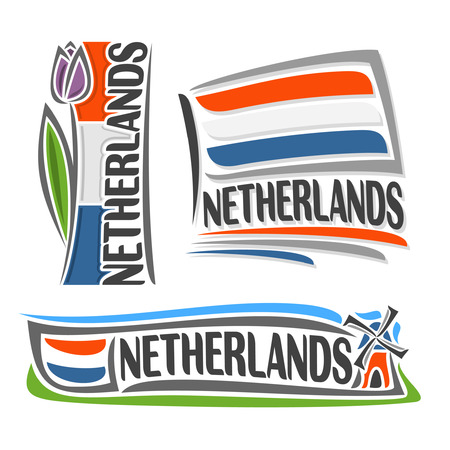 Illustration for Netherlands, consisting of 3 isolated illustrations: vertical flag image with purple tulip, horizontal symbol of Netherlands and the flag on background of windmill