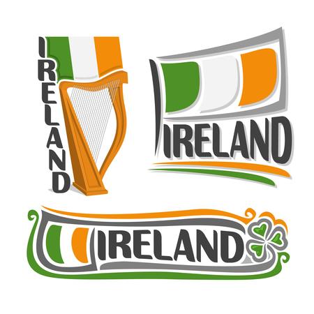 the harp: Ilustración para Irlanda, que consta de 3 ilustraciones aisladas: bandera del estado por encima de la arpa, símbolo de Irlanda y la bandera en el fondo de la hoja verde del trébol