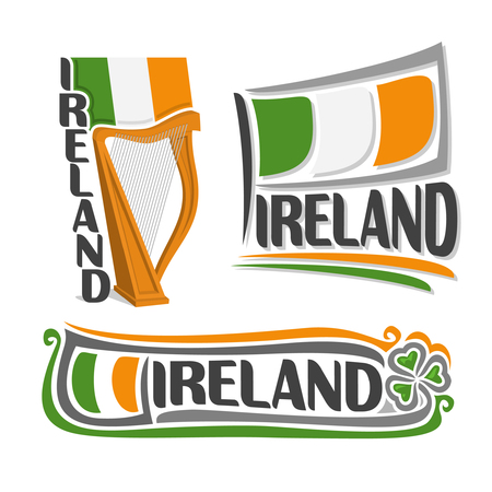 Illustration for Ireland, consisting of 3 isolated illustrations: state flag above the harp, symbol of Ireland and the flag on background of leaf green clover