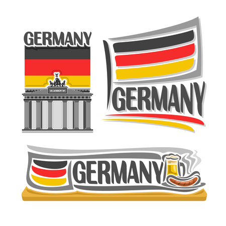 weisswurst: Illustration for Germany, consisting of 3 isolated illustrations: flag over the Brandenburg gate, horizontal symbol of Germany and the flag on background of beer and sausages