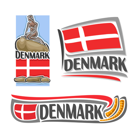 danish: Denmark, consisting of 3 isolated illustrations: danish flag under the statue of the little mermaid, horizontal symbol of Denmark and flag on background golden horns Gallehusa