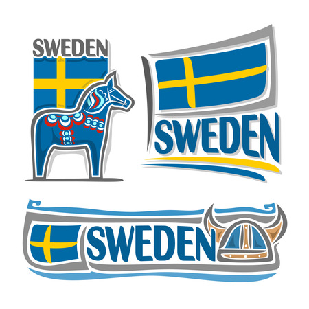 nobel: Illustration for Sweden, consisting of 3 isolated illustrations: state flag over blue Dalarna horse, symbol of Sweden and the flag on background of viking helmet