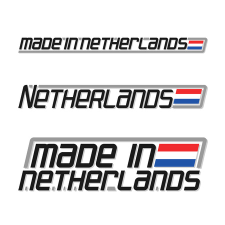 cachet: illustration of the icon for made in Netherlands, consisting of three isolated illustrations with the dutch flag and text on a white background