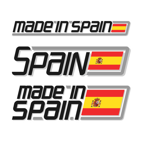 made in spain: illustration of the icon for made in Spain, consisting of three isolated illustrations with the spanish flag and text on a white background
