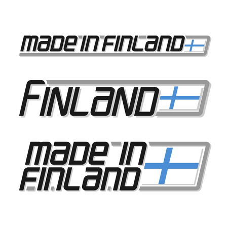 cachet: illustration of the icon for made in Finland, consisting of three isolated illustrations with the finnish flag and text on a white background