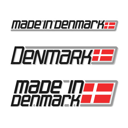 danish flag: illustration of the icon for made in Denmark, consisting of three isolated illustrations with the danish flag and text on a white background Illustration