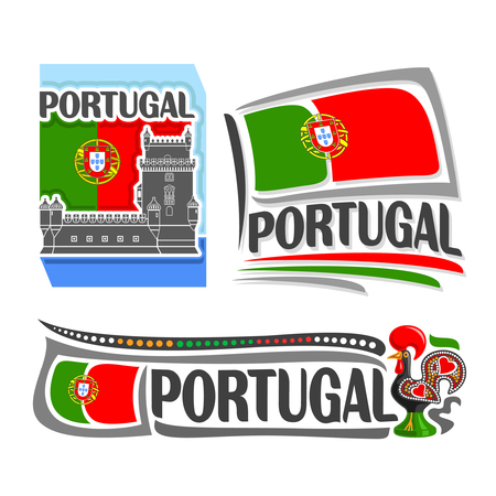 illustration of the icon for Portugal, consisting of 3 isolated illustrations: national flag behind Belem tower, horizontal symbol of Portugal and the flag on background of rooster Illusztráció