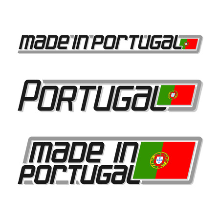 cachet: illustration of the icon for made in Portugal, consisting of three isolated illustrations with the portuguese flag and text on a white background