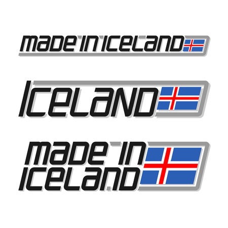 icelandic flag: illustration of the icon for made in Iceland, consisting of three isolated illustrations with the icelandic flag and text on a white background