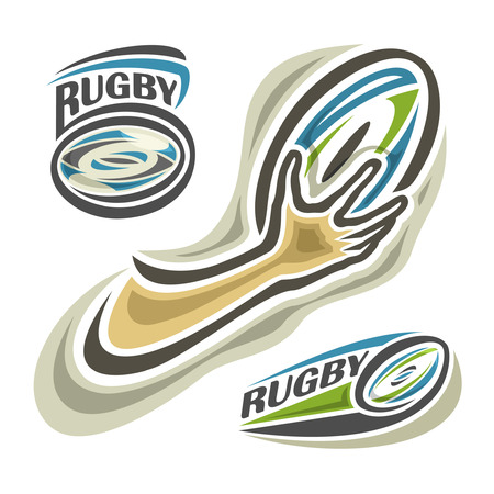 rugger: illustration of the icon for rugby (football,rugger), consisting of 3 isolated illustration on white background closeup: rugby balls and hand
