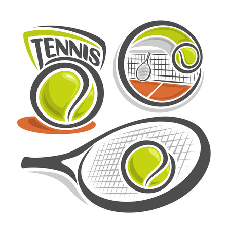 racquet: illustration of the icon for lawn tennis, consisting of green ball, net on brown court with racket and racquet closeup