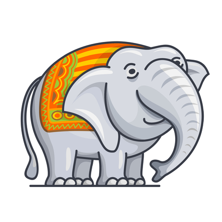 cartoon elephant: illustration of the icon for cartoon, cute, good, kind, young, happy, gray elephant with the trunk, head, ears and tail close-up on a white background Illustration