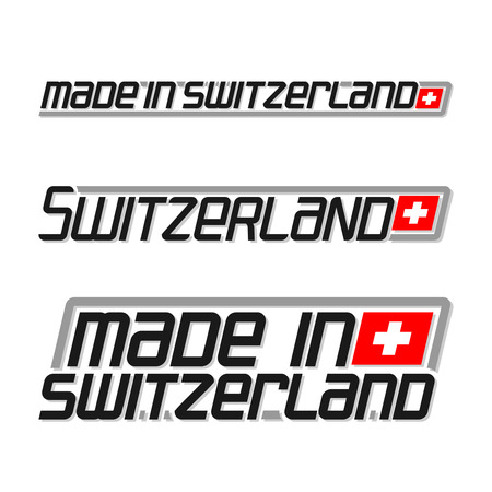 cachet: illustration of the icon for made in Switzerland, consisting of three isolated drawings with the swiss flag and text on a white background