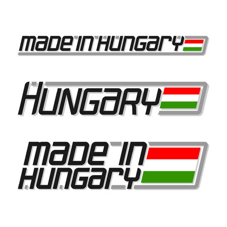 cachet: illustration of the icon for made in Hungary, consisting of three isolated drawings with the hungarian flag and text on a white background
