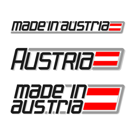 cachet: illustration of the icon for made in Austria, consisting of three isolated drawings with the austrian flag and text on a white background Illustration