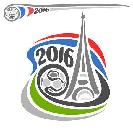 Abstract for Alternative icon of European Football soccer Championship Euro 2016 in France. Eiffel tower, soccer ball, french flag close-up white background.