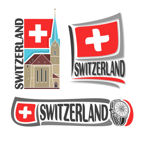 swiss flag: icon for Switzerland, consisting of three isolated illustrations: Fraumunster Church in Zurich on background of national state flag, symbol of Switzerland and swiss flag beside watch close-up Illustration