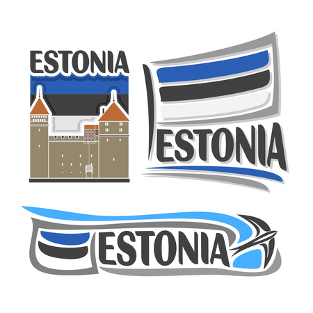 icon for Estonia, consisting of 3 isolated illustrations: Kuressaare Episcopal Castle on background of national state flag, symbol of Estonia and estonian flag beside swallow barn close-up