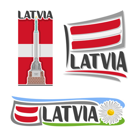 balsam: icon for Latvia, consisting of 3 isolated illustrations: Freedom Monument in Riga on background of national state flag, symbol of Latvia and latvian flag beside camomile, chamomile close-up