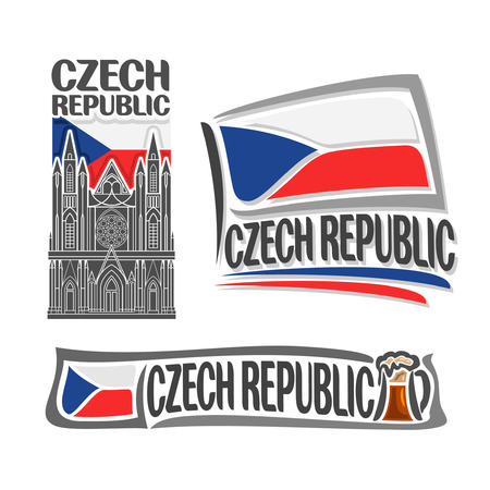 frothy: icon for Czech Republic, consisting of 3 isolated illustrations: St. Vitus Cathedral on background of national state flag, symbol Czech Republic and Czekh flag beside frothy beer mug close-up Illustration