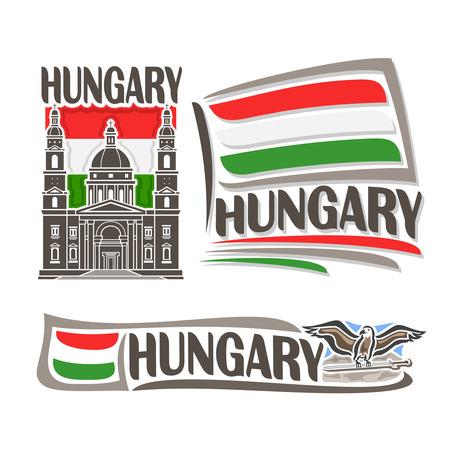 pictogram voor Hongarije, bestaande uit 3 geïsoleerde illustraties: Basiliek St. Stephen's op de achtergrond van de nationale vlag, symbool van Hongarije en Hongaarse vlag naast Turul met zwaard close-up