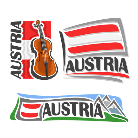 fiddle: icon for Austria, consisting of 3 isolated illustrations: violin, fiddle on background of national state flag, symbol of Austria and austrian flag beside Alps mountains close-up