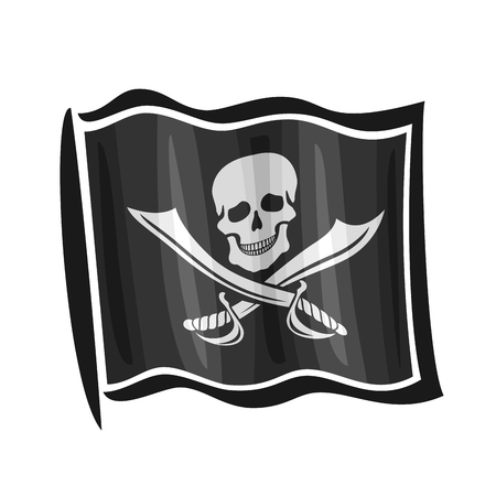 roger: Vector illustration of logo for black cartoon pirate flag Jolly Roger, consisting of skull and pirate knife, waving in the wind, close-up on white background Illustration