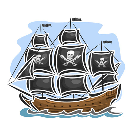 schooner: Vector logo pirate sailing ship, sailboat, sailer, vessel, sailing, barque, craft, frigate, caravel, galleon, schooner, floating blue sea, ocean, waves. Cartoon pirate sailing old vessel Jolly Roger