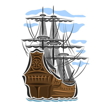 schooner: Vector logo sailing ship, sailboat, sailer, vessel, sailing, barque, craft, frigate, caravel, galleon, schooner, floating blue sea, ocean, waves. Cartoon pirate sailing old vessel
