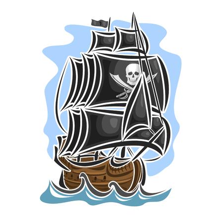 Vector logo pirate voilier, voilier, voilier, bateau, voile, barque, métier, frégate, caravelle, galion, goélette, flottant mer bleu, l'océan, les vagues. Cartoon pirate voile vieux navire Jolly Roger